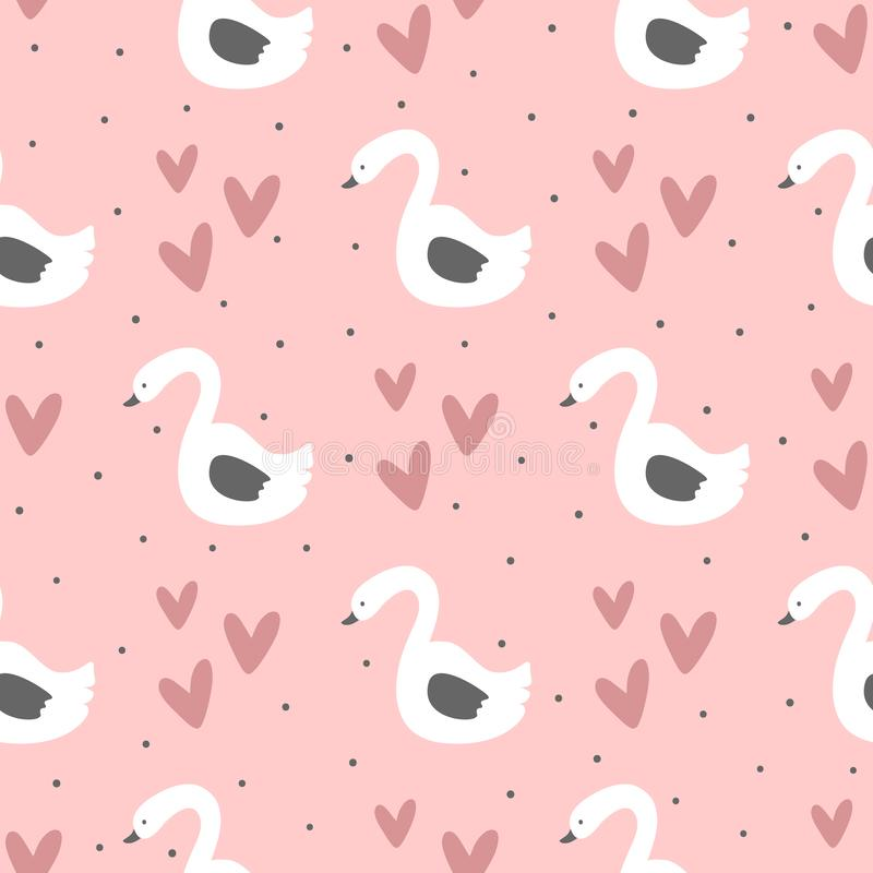 Repeated swans, hearts and round dots. Cute seamless pattern for children. Endless girlish print. Girly vector illustration. Pink, white, purple, black stock illustration