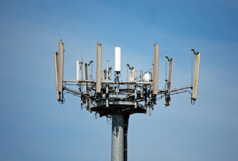 Repeaters and radio antennae an antenna for mobile. Phones stock photography
