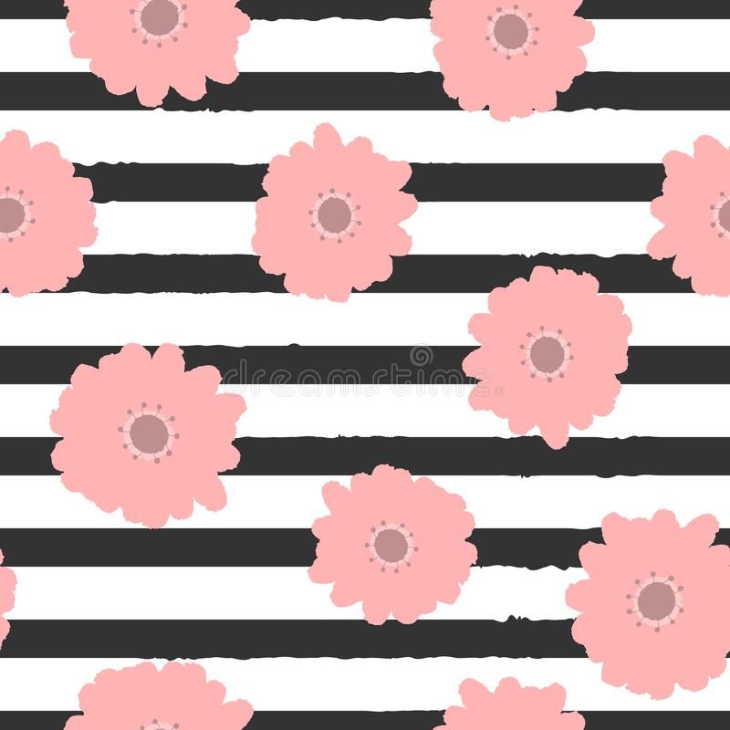 Repeating abstract flowers on striped background. Cute floral seamless pattern. royalty free illustration