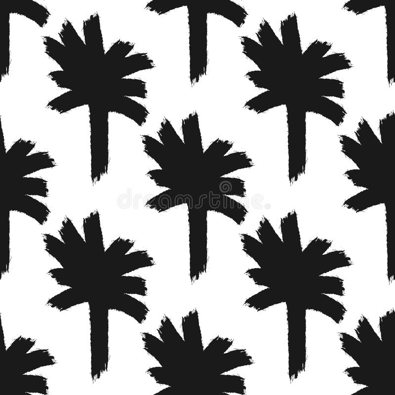 Repeating abstract silhouettes of palm trees drawn by hand with rough brush. vector illustration