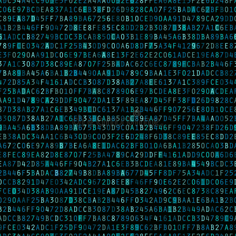 Repeating Blue Hexadecimal Background. Blue hexadecimal computer code repeating vector background wallpaper vector illustration