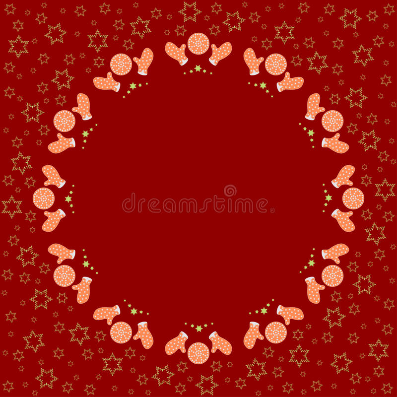 Repeating circle gingerbread cookies pattern on the red background with stars silhouette. Border frame with space for text. Christmas and Happy New Year symbol royalty free illustration