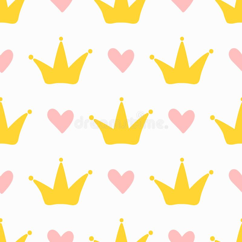 Repeating cute hearts and crowns. Seamless pattern for children. Endless girlish print. Girly vector illustration stock illustration