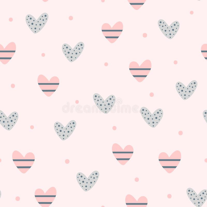 Repeating cute hearts and round dots. Romantic seamless pattern. royalty free illustration