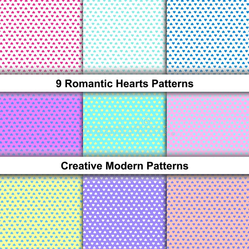 Repeating Dotted Pattern in Soft Pastel Colors. Vector Illustration. Love in Its Variations. Romantic Repeating Pattern Set. Wrapping Paper Template. Vector vector illustration
