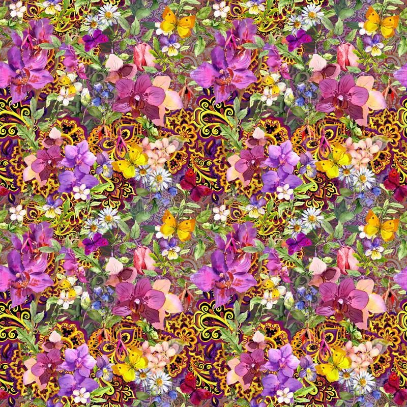 Repeating floral background. Modern oriental ornament paisley, flowers . Watercolour vector illustration