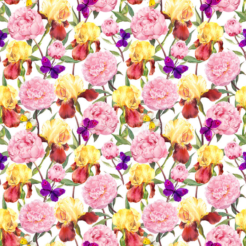 Repeating floral pattern. Peonies flowers, irises and butterflies. Watercolour. Seamless floral pattern. Peonies pink flowers and irises. Watercolor vector illustration