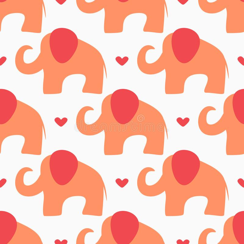 Repeating hearts and abstract silhouettes of elephants drawn by hand. Cute baby seamless pattern. royalty free illustration