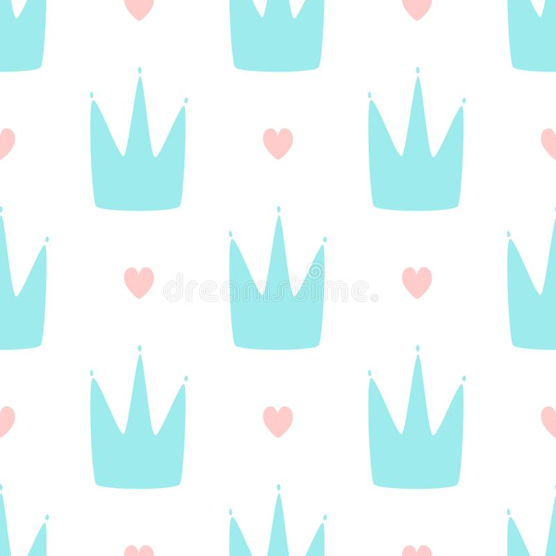 Repeating hearts and crowns drawn by hand. Cute simple seamless pattern for girls. Endless girly print. Vector illustration royalty free illustration