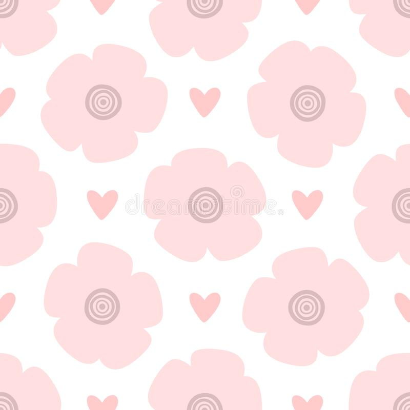 Repeating hearts and flowers drawn by hand. Cute floral seamless pattern. Endless girlish print. Girly vector illustration vector illustration