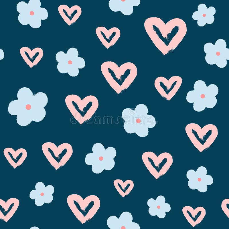 Repeating hearts and flowers drawn by hand with rough brush. Cute girlish seamless pattern. Sketch, watercolor, grunge, graffiti. Girly vector illustration vector illustration