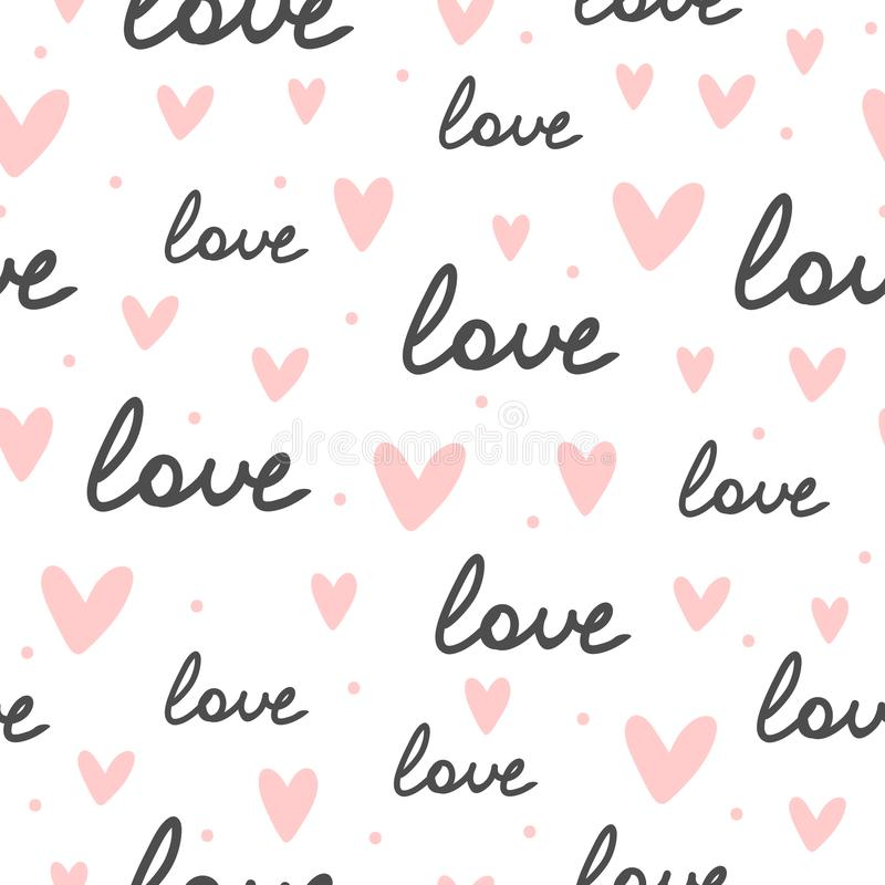 Repeating hearts, round dots and the handwritten word Love. Romantic seamless pattern. stock illustration