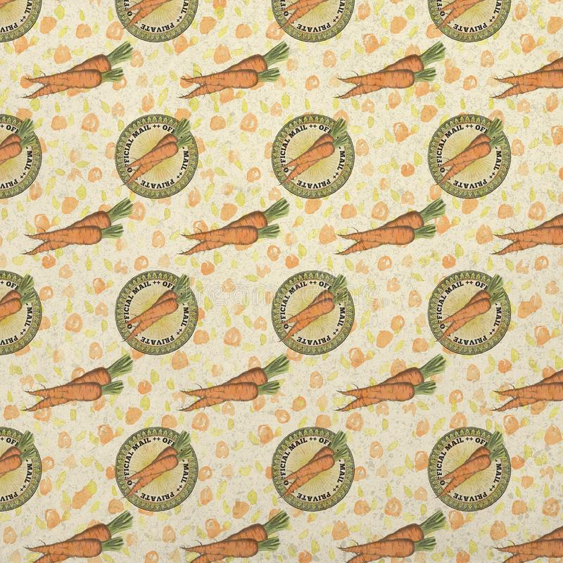 Vintage Peter Rabbit Background - Carrot Seal - Official Easter Mail Patterned Background Paper royalty free illustration