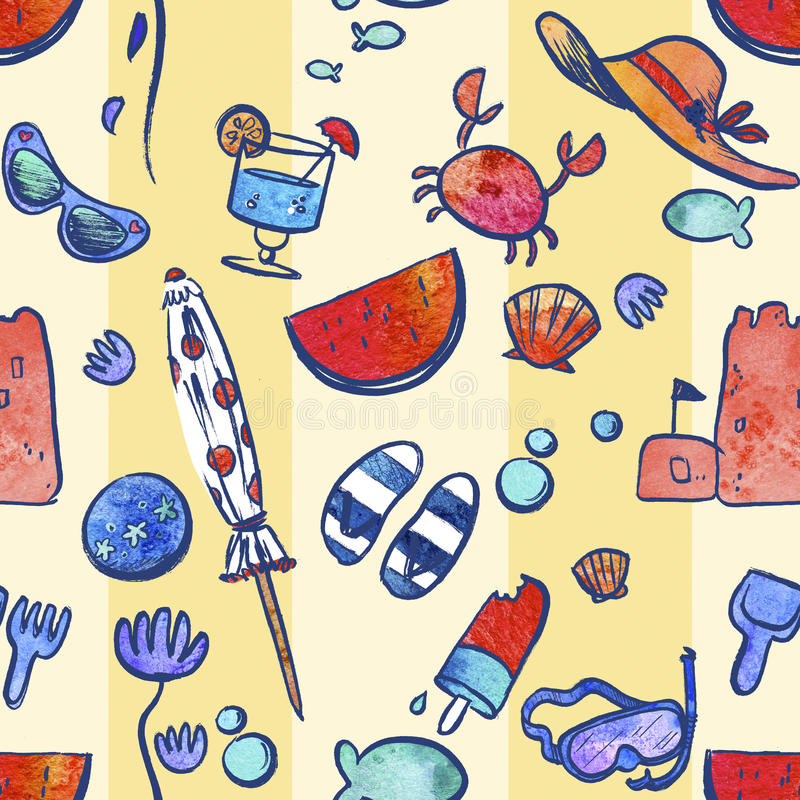 Download Repeating Pattern Illustration Of Travel And Vacation Icons Stock Illustration - Illustration: 76285869