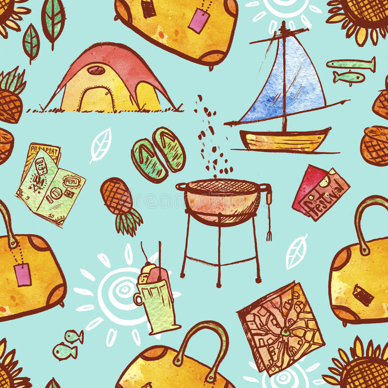 Download Repeating Pattern Illustration Of Travel And Vacation Icons Stock Illustration - Illustration: 76285870