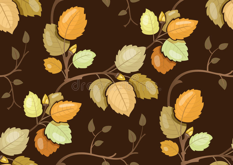 Repeating pattern with swirling autumn leaves. Repeating pattern with swirling branches with autumn leaves stock illustration