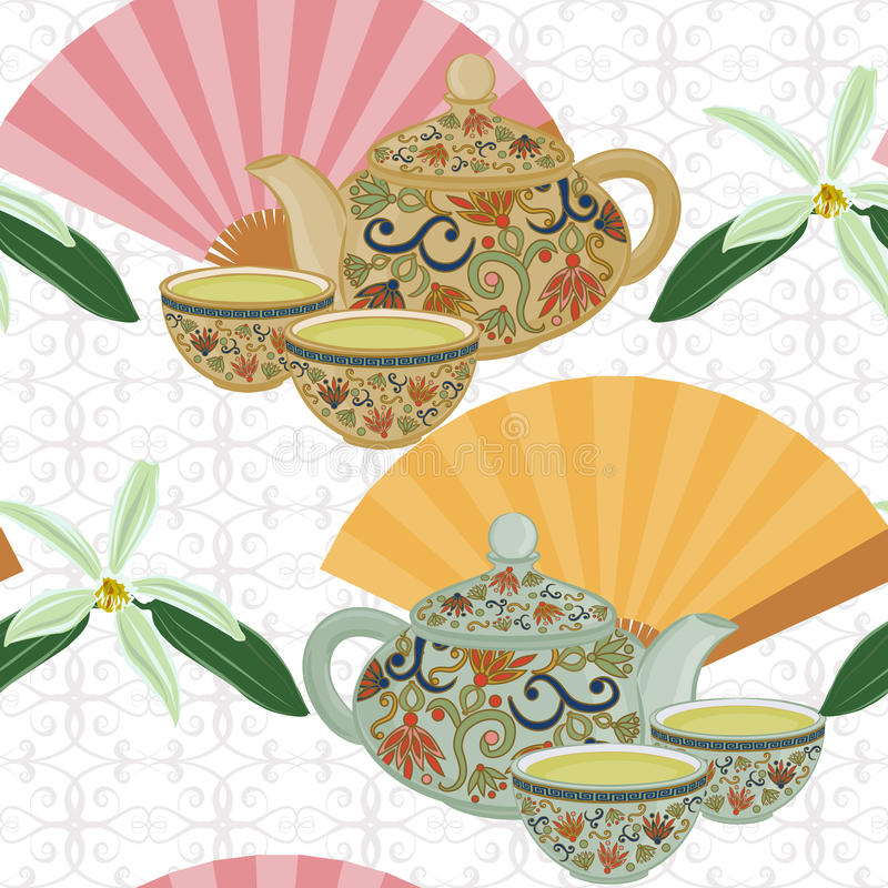 Free Repeating Pattern With Teapot, Cups And Oriental Fans. Stock Photo - 80641310