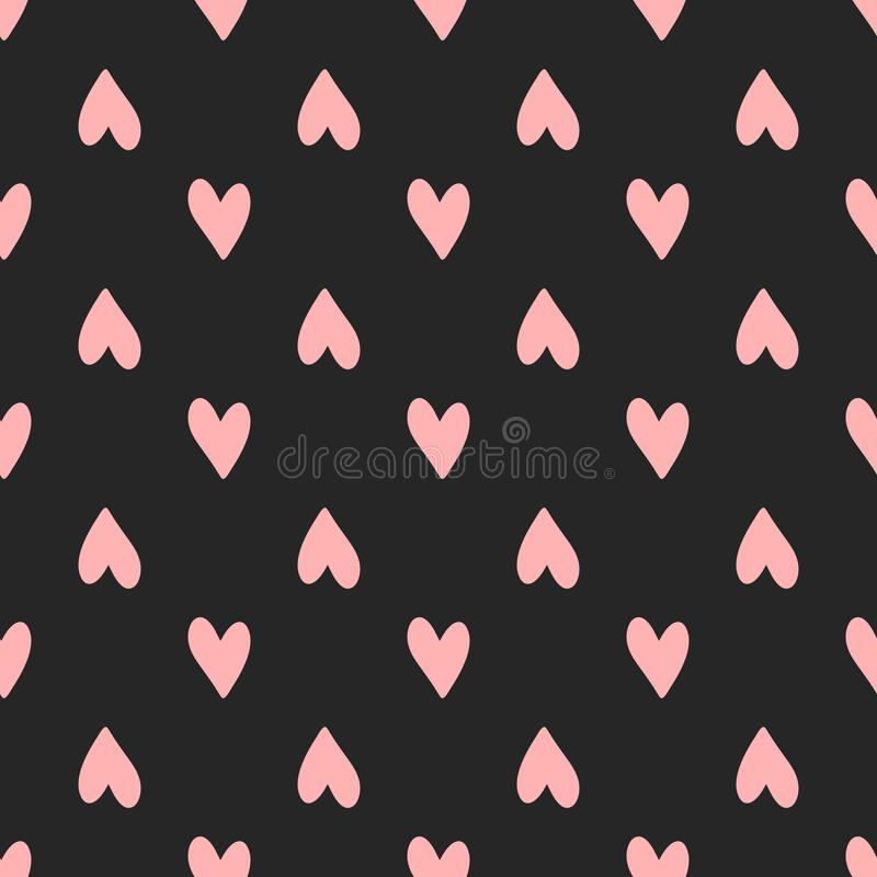 Repeating pink hearts on black background. Cute seamless pattern. royalty free illustration