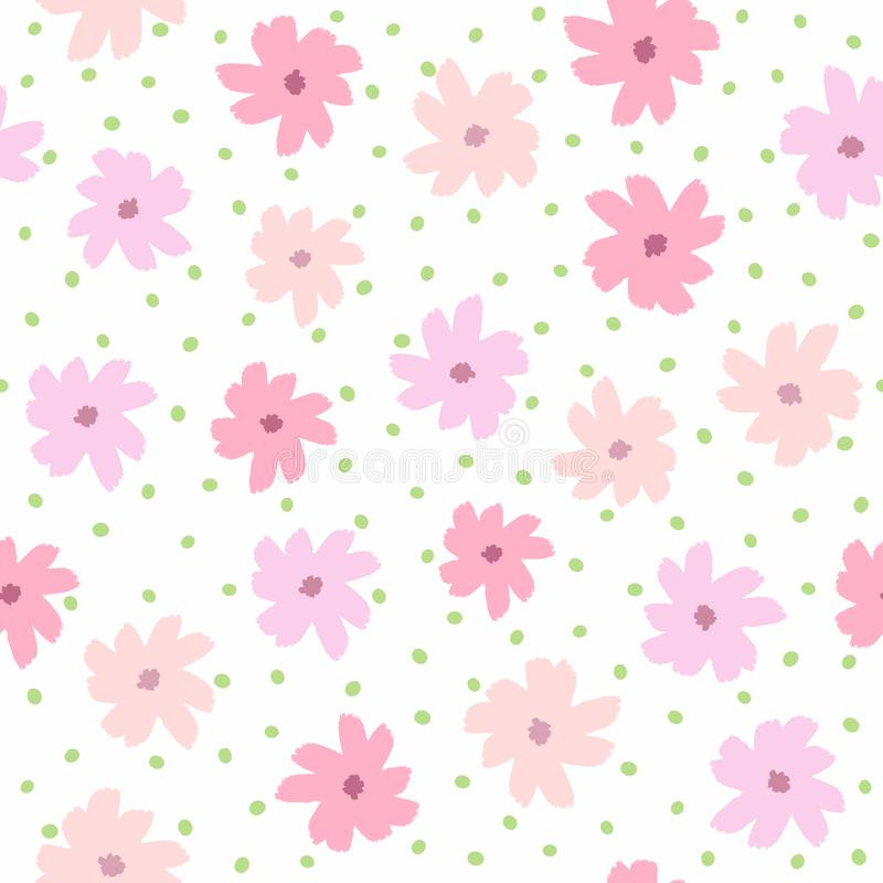 Repeating round spots and flowers drawn by hand with rough brush. Feminine floral seamless pattern. Sketch, watercolor, paint. White, pink, purple, green. Girl stock illustration