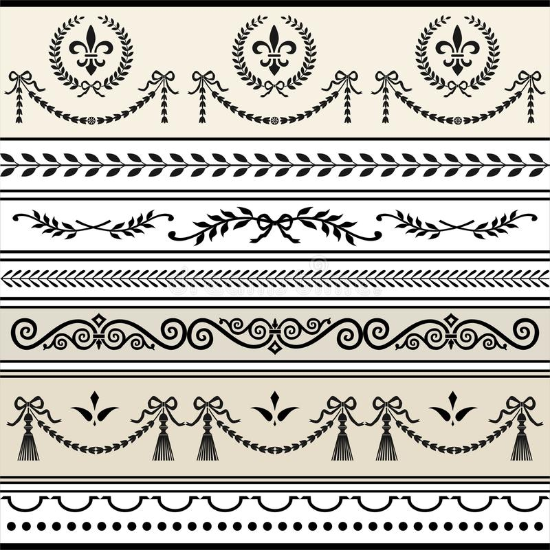 Repeating scroll borders stock illustration