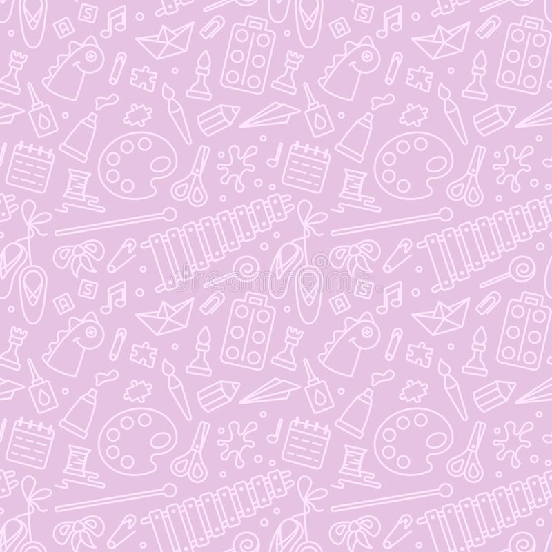 Repeating seamless pattern with elements for kids creative activity royalty free illustration