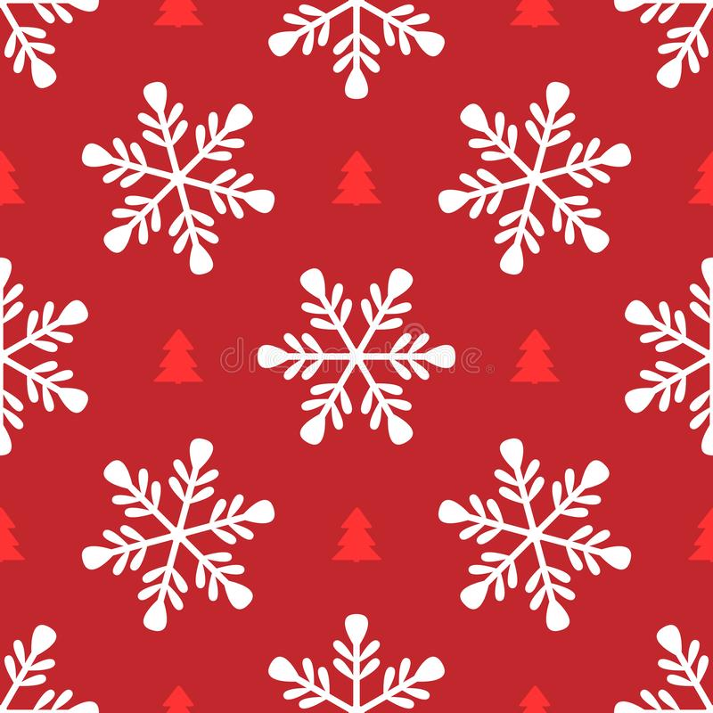 Repeating snowflakes and silhouettes of Christmas trees. Simple seamless pattern for New Year design. royalty free illustration