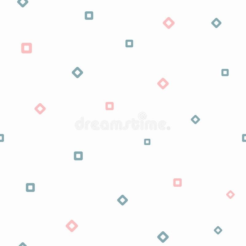 Repeating squares and rhombuses. Simple geometric seamless pattern. Girly print. White, blue, pink. royalty free illustration