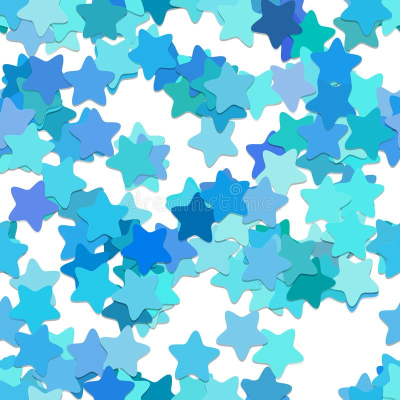 Repeating star pattern background - vector design from rounded pentagram stars in light blue tones with shadow effect. Repeating geometrical star pattern vector illustration