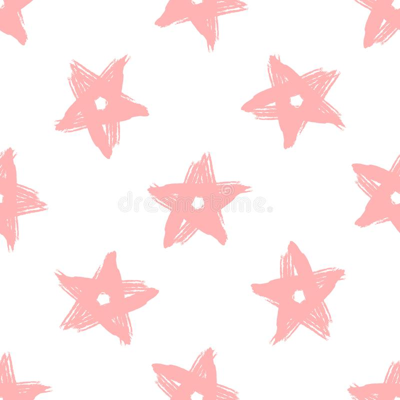 Repeating stars drawn by hand with rough brush. Girlish seamless pattern. Grunge, sketch, paint, graffiti, watercolor. Endless girly print. Trend vector stock illustration