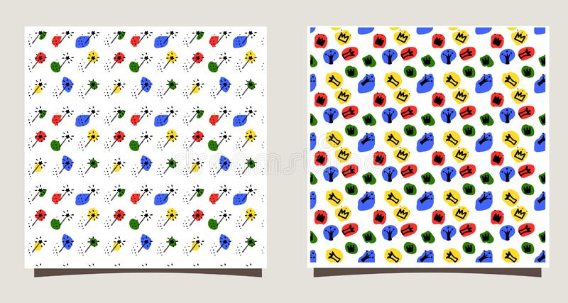 Repeating Tile with silhouettes of different crowns, dots, magic sticks. Funny vector illustration. royalty free illustration
