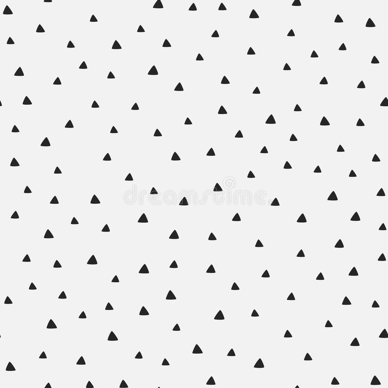Repeating triangles drawn by hand. Geometric seamless pattern. royalty free illustration