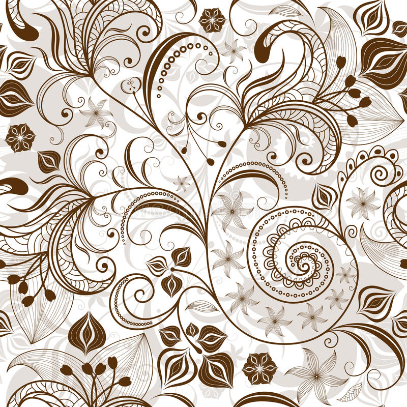 Repeating white-brown floral pattern stock illustration