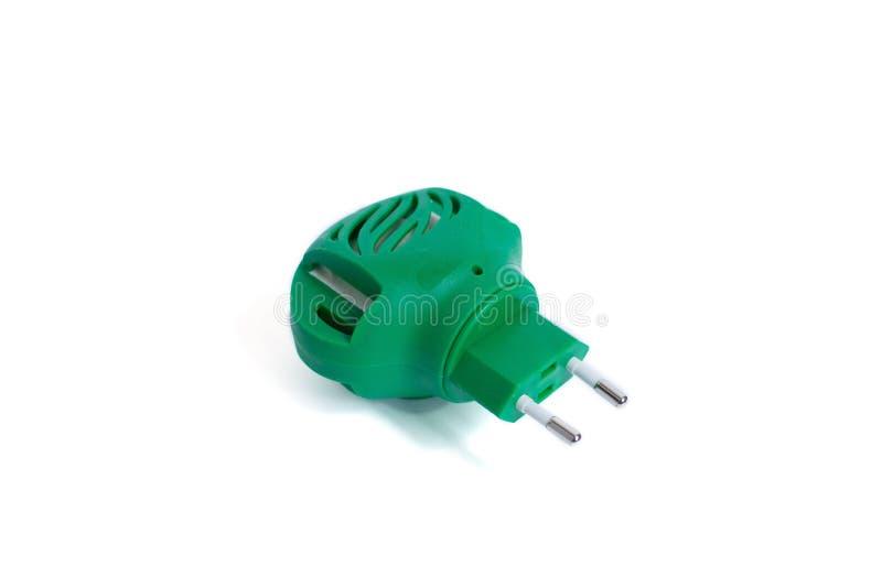 Repelente de insetos elétrico do mosquito isolado no branco Fumigator verde imagem de stock royalty free