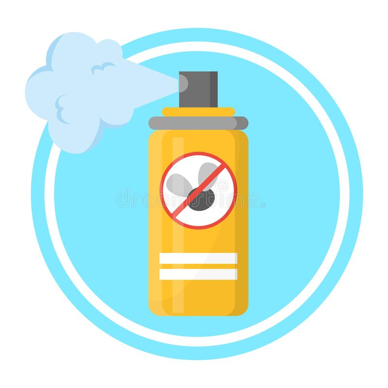 Repellent spray in the yellow bottle. Protection. From the mosquito and other insect. Aerosol for bug bite prevention. Vector illustration in cartoon style stock illustration