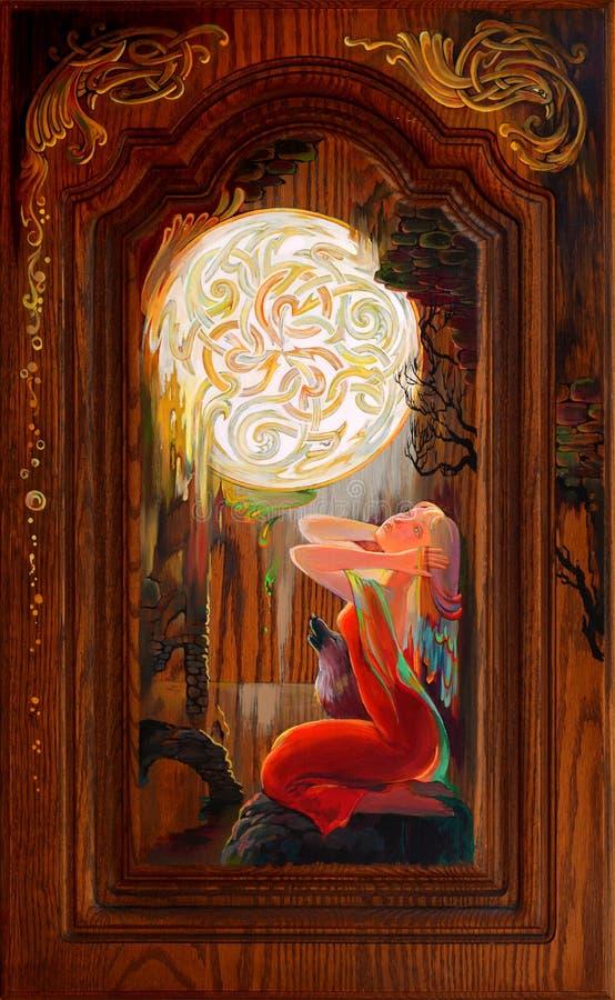 repentance Ritratto di bella ragazza che sogna nell'ambiente del celtico di fantasia Pittura a olio sulla quercia bretone immagini stock