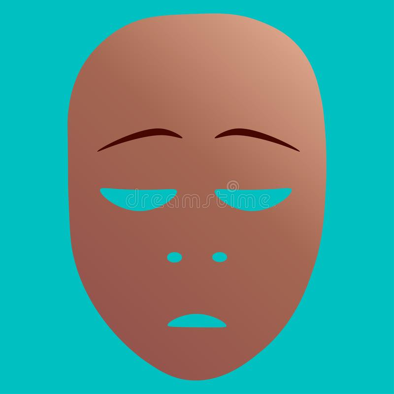 Repentance theatrical mask. Vector illustration. Theatrical mask with repentance emotion. Vector illustration. Bronze mask with gradient on turquoise background royalty free illustration