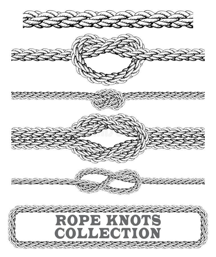 Repet knyter samlingen Overhand, diagram av åtta och fyrkantig fnuren Sömlösa dekorativa beståndsdelar royaltyfri illustrationer