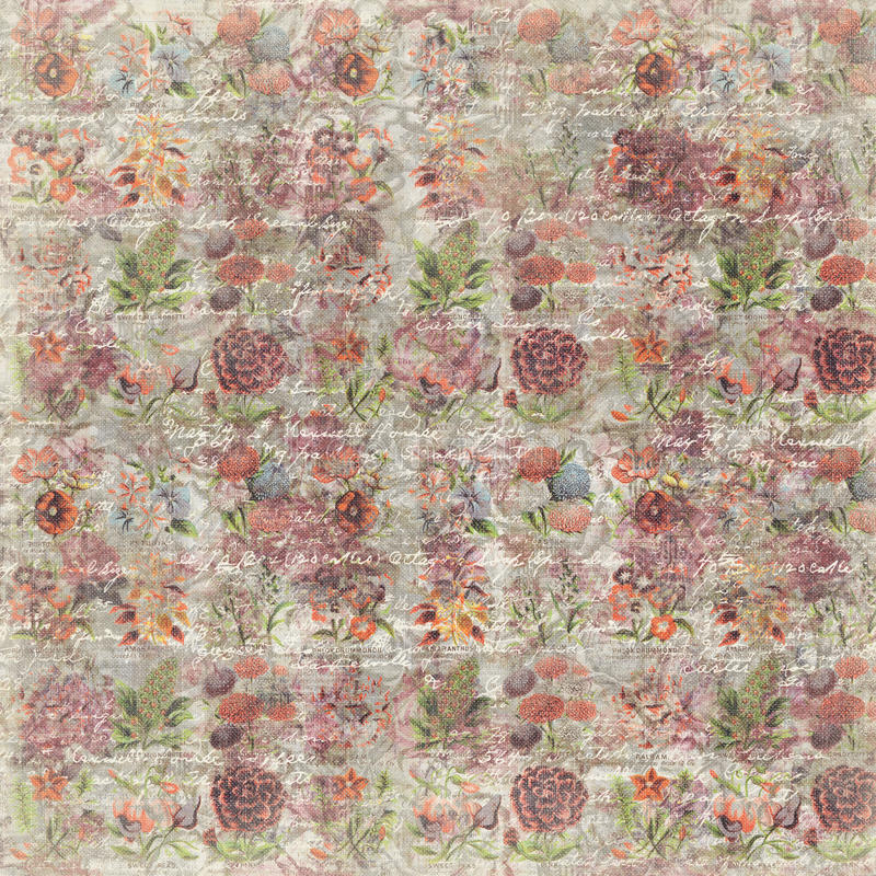 Repetição botânica do fundo do papel de parede da flor cor-de-rosa suja do vintage imagens de stock