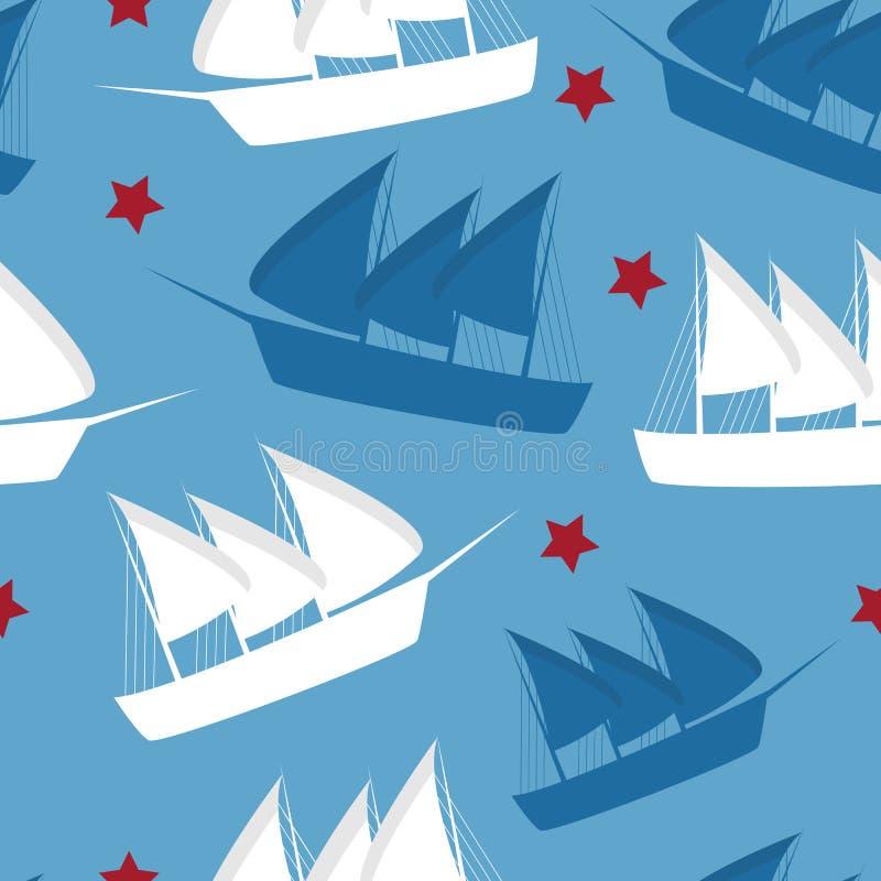 Repetição do teste padrão de Columbus Day sem emenda na cor azul para algum projeto Vetor ilustração royalty free