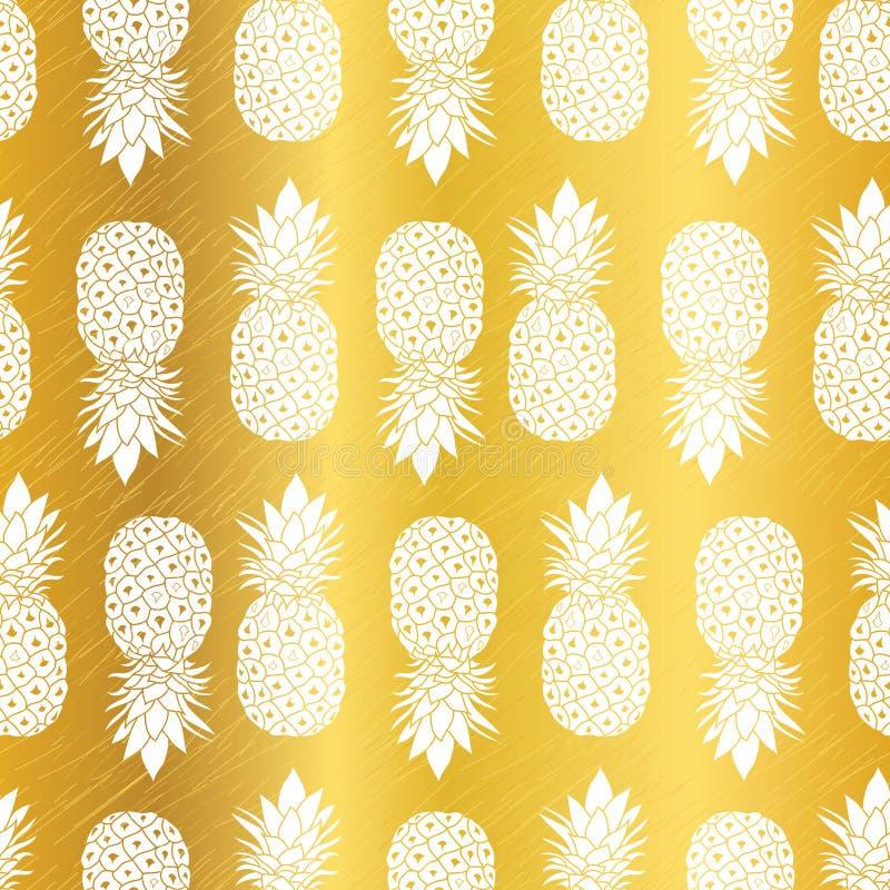 Repetição geométrica Pattrern sem emenda do vetor dos abacaxis amarelos dourados do vetor na cor do ouro grande para a tela, empa ilustração royalty free