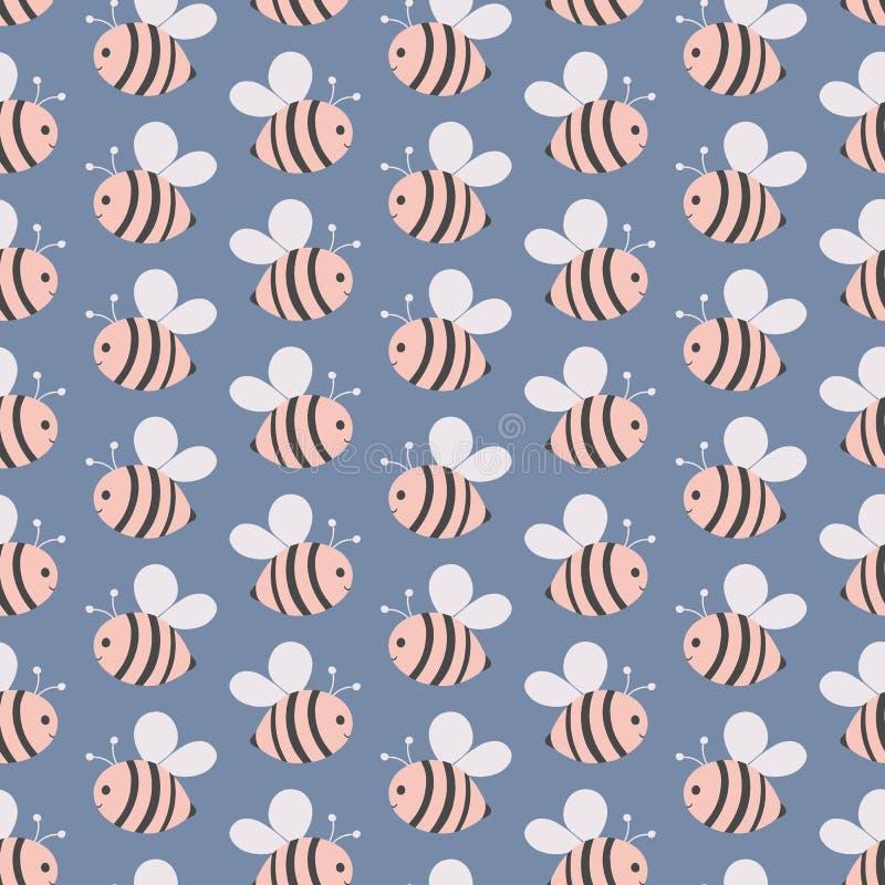 Repetição geométrica sem emenda de abelhas do rosa do voo Mão doce um ideal tirado do projeto do polinizador do vetor para crianç ilustração royalty free