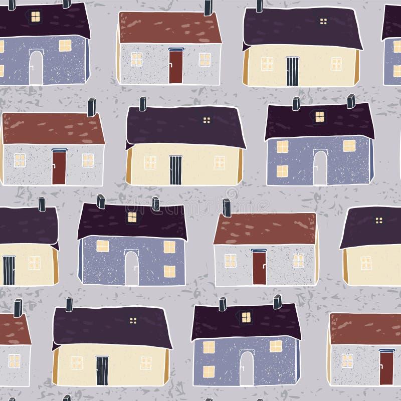 Repetição Grey Brown do teste padrão do Xmas da vila das casas ilustração royalty free