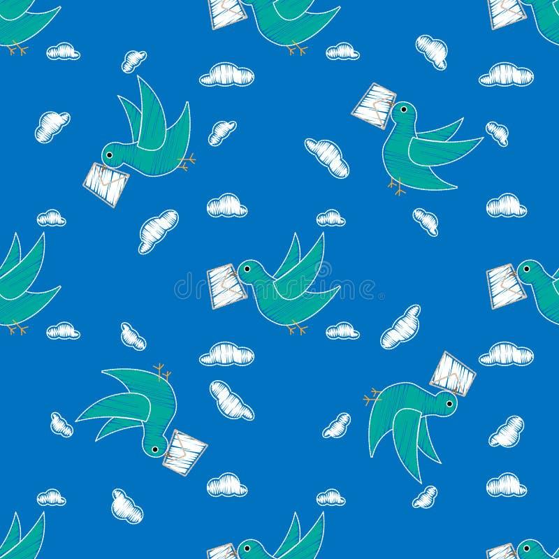 Repetição levando do teste padrão do envelope da pomba sem emenda na cor azul para algum projeto O pássaro entrega uma mensagem P ilustração royalty free