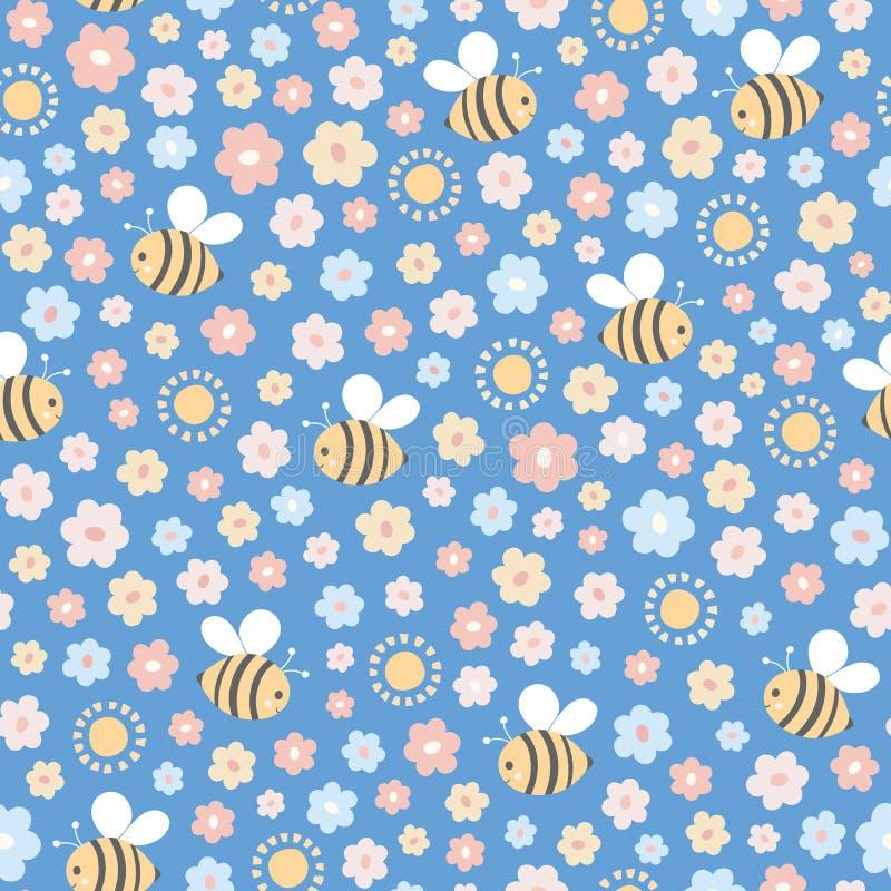 Repetição sem emenda das abelhas, das flores e da luz do sol Mão doce um vetor tirado floral e ideal do projeto do polinizador pa ilustração stock