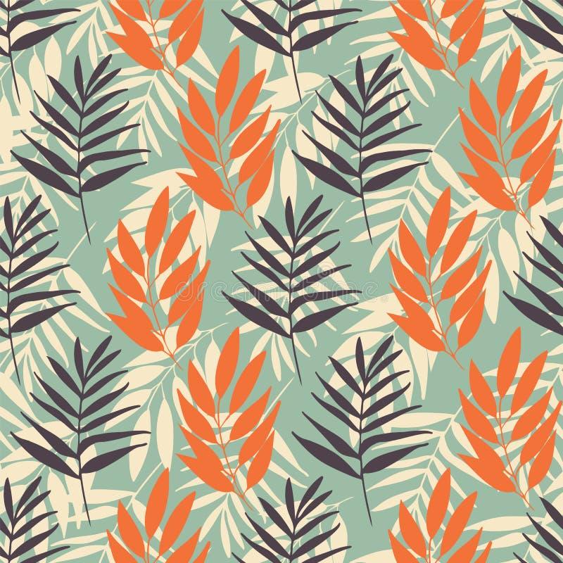Repetição sem emenda do teste padrão da folha tropical do vetor na luz - azul ilustração stock
