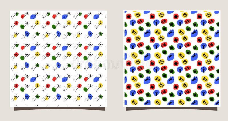 Repetición de la teja con las siluetas de diversas coronas, puntos, palillos mágicos Ejemplo divertido del vector libre illustration