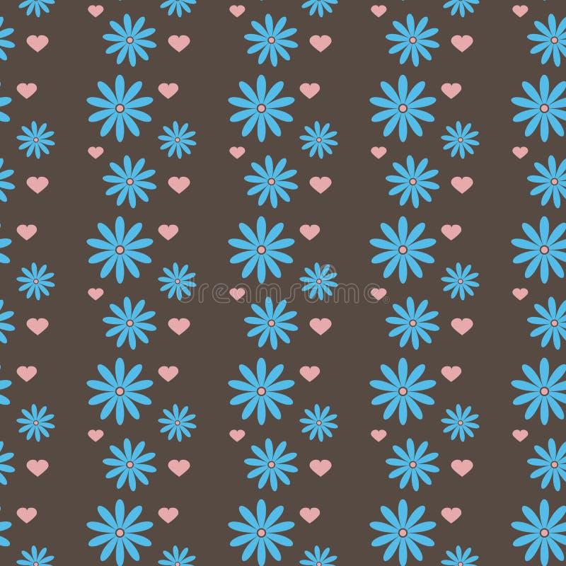 Repetición de la textura de flores y de corazones Modelo inconsútil ilustración del vector