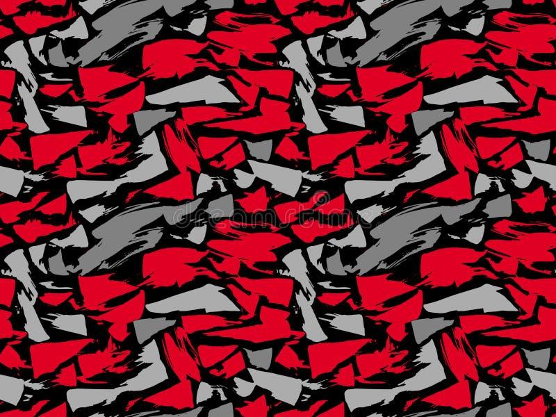 Repetición de la textura del modelo inconsútil Puntos rojos y grises en un fondo negro Fondo del vector repetición ilustración del vector