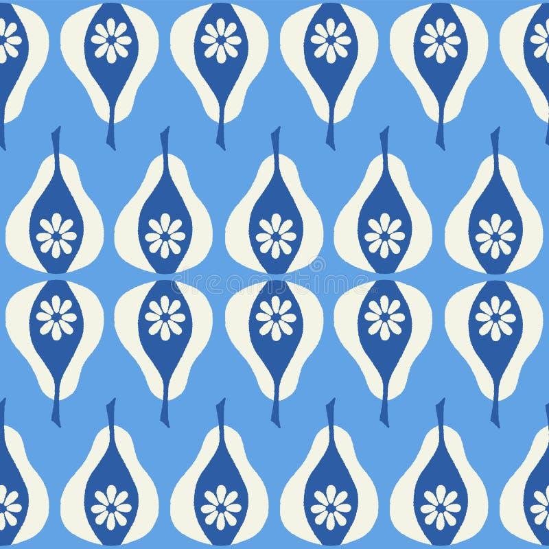 Repetición geométrica inconsútil de las peras azules exhaustas de la mano Un diseño del vector de fruta fresca libre illustration
