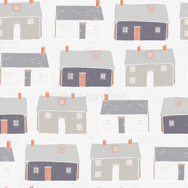 Repetición Grey Background de Navidad del vector del pueblo de las casas libre illustration